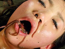Earthworms in mouth
