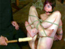 Hairy pussy of slave stimulated