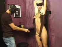 Blindfolded and spanked blonde slavegirl