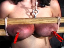 Way-out squeezing of tits