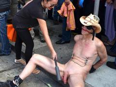 Public cock torture