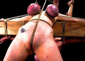Hard bondage for breast and clitoris