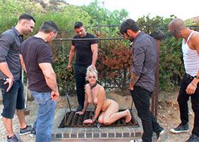 Public disgrase and gung bang of blonde slave