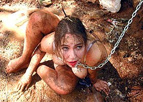 Disgraced slave girl like a pig in the mud