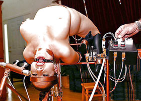 Electro torture of hard locked  flexible girl