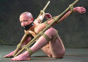 Hard torture of bald slave girl