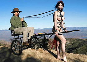 Pony slave girl daily outdoor training