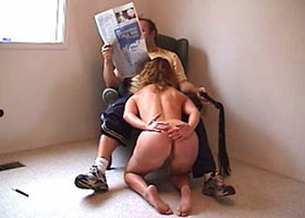 Daily routine work of submissive wife