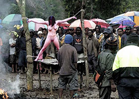 Public torture of white witch in the modern Africa