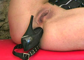 Anally disgraced slave fucked by her boots