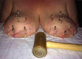 Hammering and nailing of big boobs
