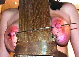 Nipples kebab on skewer just  a painful lock for the slave