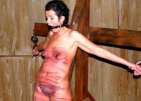 Severe punishment of brunette submissive