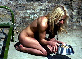 Torture of blonde slave in the dungeon