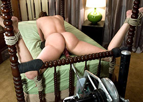 Wife tied up and fucked by fucking machine