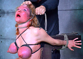 Brutal breath play for experienced submissive woman