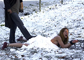 Extreme torture of naked submissive girl in a snow