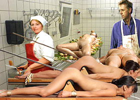 Cooking of human dish in a meat factory