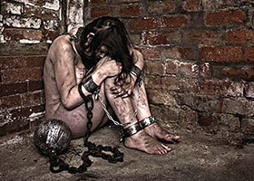 Forgotten slave girl dreams of cock in the dungeon